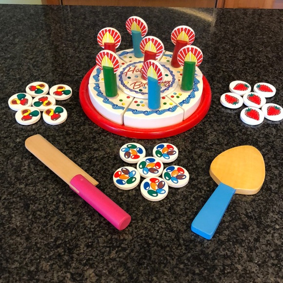 Amazing Melissa Doug Other Melissa Doug Wood Birthday Cake Play Set Funny Birthday Cards Online Alyptdamsfinfo
